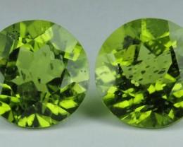 8.0 Cts.Magnificient Top cut Sparkling Intense Green 9.7mm Peridot 2 pcs