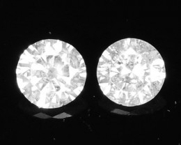 ~PAIR~ Natural White Diamond 0.12 Cts Africa
