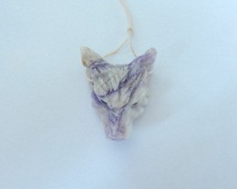 66ct Natural Purple Lace Agate Handcarved Wolf Head Necklace Pendant(171115