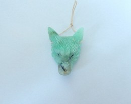 59ct Natural Chrysocolla Handcarved Wolf Head Necklace Pendant(17111504)