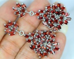 80.50ct Sterling Silver 925 Natural Garnet Earrings GW67