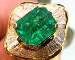 88.5 cts EMERALD  GOLD DIAMOND RING/PENDANT RING-JJ