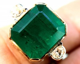 62.25 cts EMERALD  GOLD DIAMOND RING -JJ