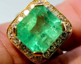 52.50 cts EMERALD  GOLD DIAMOND RING -JJ
