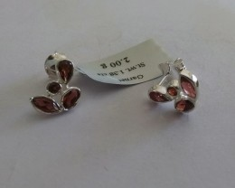 Garnet 925 Sterling silver earrings #33401