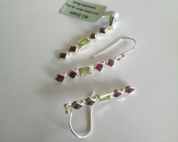 Rhodolite peridot set - 925 Sterling silver (earring and pendant)