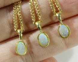 Three Cute Opal Solid Crystal set in G/P Pendant CF1695