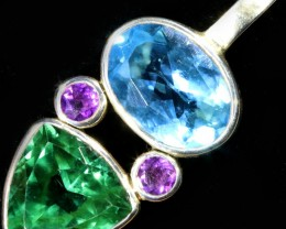 GEMSTONES PENDANT DIRECT FROM FACTORY SILVER 43.30CTS SJ1189-2 RETAIL 485$