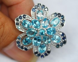 60.71ct Sterling Silver 925 Natural Blue Zircon / Sapphire Ring Sz8.25 GW77