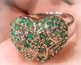 Emerald Star Heart .925 Sterling Silver Ring No Reserve