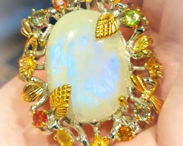 A HUGE Moonstone Sapphire Sterling Silver Gold Ring Size 9.5