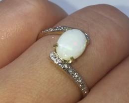 Stunning $1050 Cert. Nat 1.3ct Opal &Diamond Ring 10K Sol Ylw Gold