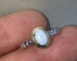 Wonderful $675 Nat 0.45ct Opal &Diamond Ring 10K Sol Ylw Gold