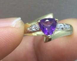 Splendid $900 Nat 7.0ct Amethyst Ring 10K Sol Ylw Gold Untreated