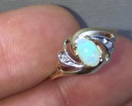Wonderful $1275 Nat 0.60ct Opal &Diamond Ring 10K Sol Ylw Gold