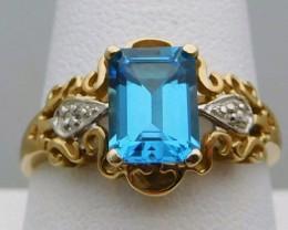 Superb $1875 Nat 2.75ct. Blue Topaz &Diamond Ladies Ring 10K Sol Wht Go