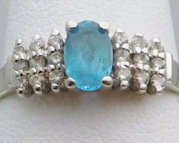 Splendid $1200 Nat 1.20cts Aquamarine &Diamond Ring 10K Sol Wht Gold