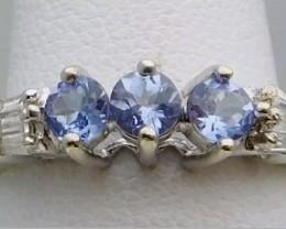 Stunning $1375 Nat 0.51 ct Tanzanite&Diamond Ring 10K Sol Wht Gold