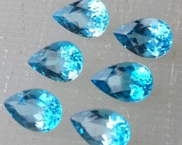 8.00 CTS DAZZLING NATURAL ULTRA RARE LONDON BLUE TOPAZ PEAR CUT 6 PCS