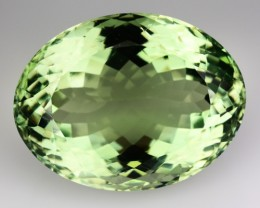 32.83 Cts Natural Green Amethyst/Prasiolite Oval Cut Brazil Gem