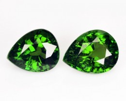 3.12 Cts Natural Neon Green Tourmaline Pear 2Pcs Nigeria
