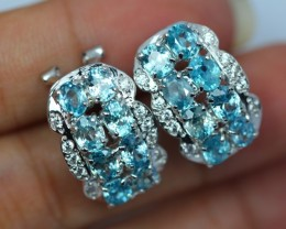 41.31Ct Sterling Silver 925 Natural Blue Zircon Earrings V106