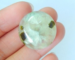 Lowest Price,27.5CT Natural Prehnite Round Cabochon For Jewelry Making(1711