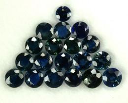 5.12 Cts Natural Deep Blue Sapphire 3.50 mm Round 19 Pcs Parcel