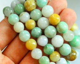 659.0Ct Natural Grade A Mixed Color Jadeite Jade 4Pcs Bracelet