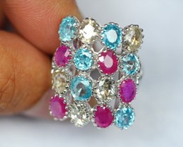 40.07Ct Sterling Silver 925 Natural Ruby Blue Yellow Zircon Ring Sz7.5 V133