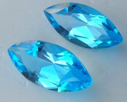 7.70 CTS TOP EXCELLENT NATURAL SUPER SWISS-BLUE TOPAZ BRAZIL NR!