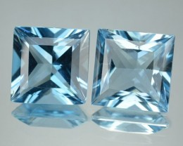 14.06 Cts Natural Blue Topaz 10mm Square 2 Pcs Brazil Gem