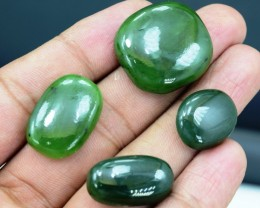 85.10 Cts Natural Green Jade Cabochons Parcels from Afghanistan