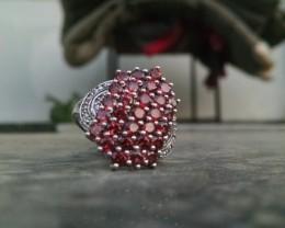 Garnet 925 Sterling silver ring #400
