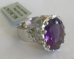 Huge amethyst 925 Sterling silver ring #134