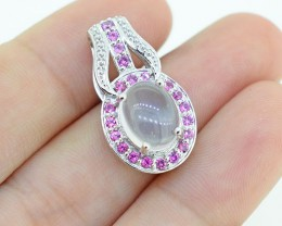 Natural Garnet & Rose Quartz 925 Sterling Silver Pendant (SSP0293)
