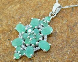 Natural Emerald 925 Sterling Silver Pendant (SSP0225)