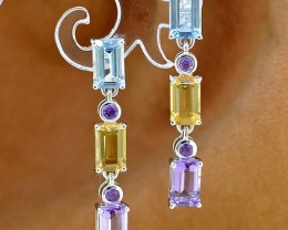 Natural Mixed stone 25 Sterling Silver Earring (SSE0285)