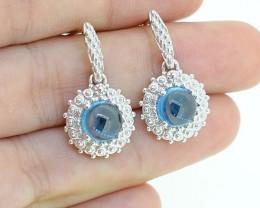 Natural London Blue Topaz 925 Sterling Silver Earring (SSE0287)