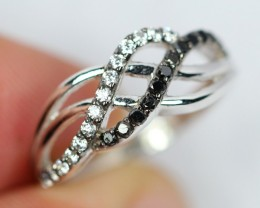 Lot 03 ~ 11.1Ct Natural Black Diamond 925 Sterling Silver Ring Sz5