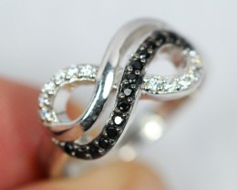 Lot 04 ~ 22.1Ct Natural Black Spinel 925 Sterling Silver Ring Sz6.5