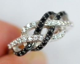 Lot 05 ~ 15.9Ct Natural Black Spinel 925 Sterling Silver Ring Sz5.25