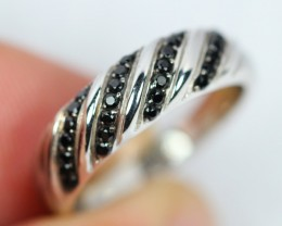 Lot 06 ~ 23.1Ct Natural Black Spinel 925 Sterling Silver Ring Sz6.25