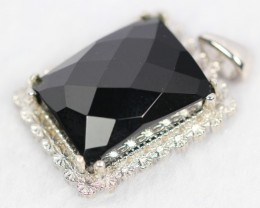 Lot 08 ~ 57.8Ct Natural Black Onyx 925 Sterling Silver Pendant