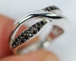 Lot 09 ~ 16.6Ct Natural Black Spinel 925 Sterling Silver Ring Sz4.75