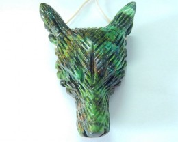 Best SALE IN THIS SHOP,136.5ct Natural African Turquoise Handcarved Wolf He