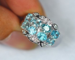 33.09ct Sterling Silver 925 Natural Blue Zircon Ring Sz 8.5 GW123