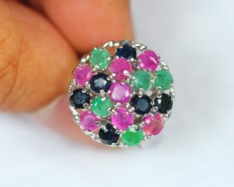 36.54ct Sterling Silver 925 Natural Emerald Ruby Sapphire Ring Sz6.75 GW126
