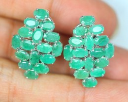 37.70ct Sterling Silver 925 Natural Zambia Emerald Earring GW134