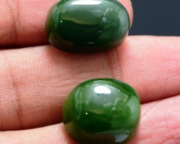 29.80 cts Natural Nephrite Jade Cabochons Pair frm Afghanistan